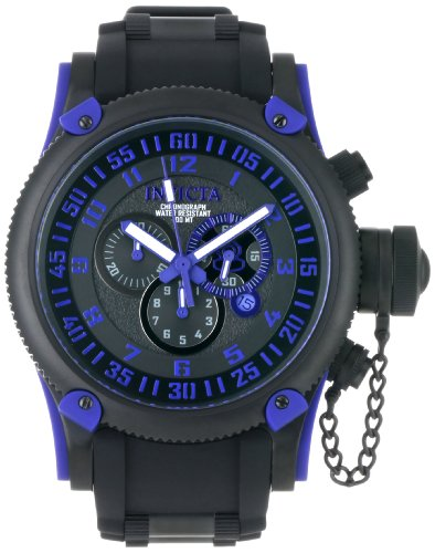 Invicta Men's Russian Diver 0518 Black Polyurethane Swiss Quartz Watch with Black Dial