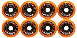 8 Labeda Gripper Asphalt Outdoor Roller Hockey Wheels - Orange 80mm by Labeda