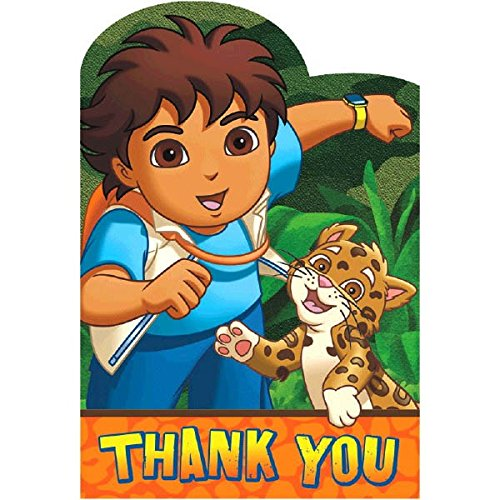 "Amscan Fun Diego's Biggest Rescue Birthday Party Thank You Cards (8 Piece), 4-1/4 x 6-1/4"", Multi"