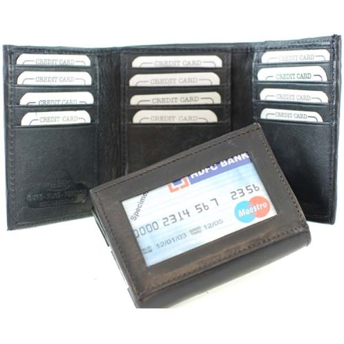 100% Genuine Leather Tri-fold Mens Wallet Black #553