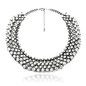 Fun Daisy Grand UK Princess Kate Middleton Hot Silver Rhinestone Fashion Necklace - xl00941-S