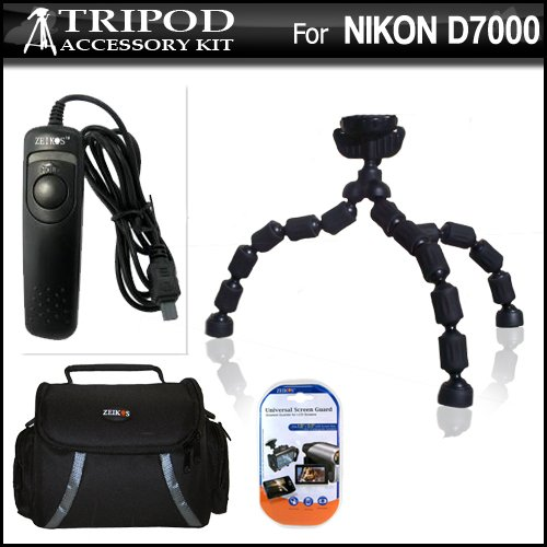 Tripod Kit For The Nikon D7000 Includes Flexible Gripster + Remote Shutter Release + Deluxe Carrying Case + 3 Pack LCD Screen Protectors