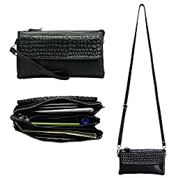 Belfen Leather Wristlet Clutch Smartphone Crossbody Wallet with Card Slots/Shoulder Strap/Wrist Strap -For Cellphone Up To 6.1 x 3 x 0.3 Inches-Black