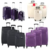 Wheeled Large Expandable Lightweight Suitcase Trolley with Locking Telescopic Handle in Black, Includes Combination Padlock &amp; 5 Year warranty