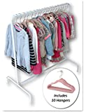 Child Garment Rack- Kids Closet Organizer- with 10 Children's Velvet Hangers (Rack with 10 Pink Polka Dot Hangers)