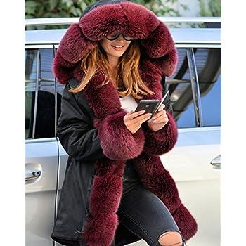 Roiii Vintage Women Military Faux Fur Hooded Winter Warm Coat Ladies Jacket Size 8-18