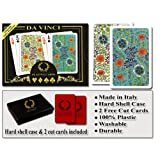 Da Vinci Fiori, Italian 100% Plastic Playing Cards, 2-Deck Bridge Size Regular Index Set, with Hard Shell Case & 2 Cut Cards (Color: multi, Tamaño: Bridge Size Regular Index)