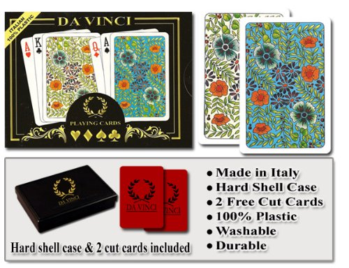 Best Prices! Da Vinci Fiori, Italian 100% Plastic Playing Cards, 2-deck Set, W/hard Shell Case & 2 C...