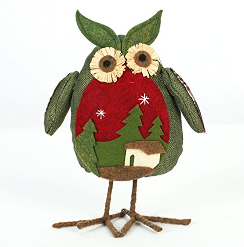 20914 CM, (Green Owl) Christmas Ornaments Linen Owl Plush Doll Gift