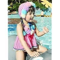 女児 水着 子供 愛らしくかわいい 花柄付 セパレート キッズ かわいいスイムキャップ付 Zroot