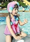 女児水着子供 愛らしくかわいい花柄付セパレートキッズかわいいスイムキャップ付Zroot(3T(三才用))