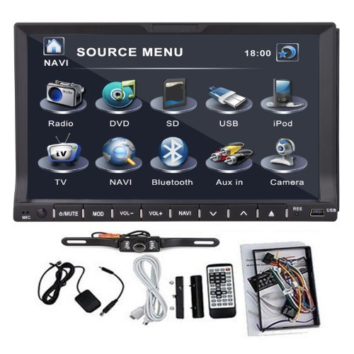 "Gps Satellite Radio Tv Bluetooth Car Stereo Dvd Cd Player 2 Din 7"" Hd+Camera"