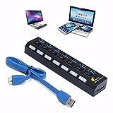 ONCHOICE-Superspeed-USB-Datenhub-7-Ports-30-Ultralight-Verteiler-Schwarz-mit-Diagnose-LED-Anzeige-Untersttzt-Hot-Plugin-bzw-Plug-Play-mit-Energiespar-Schalter-fr-PC-Laptop-Notebook-Computer-Windows-MA