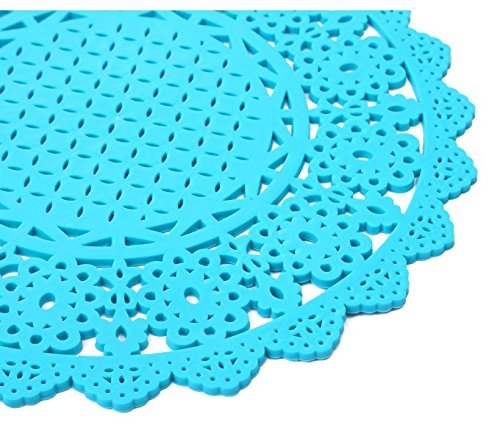 YOKIRIN PVC Untersetzer aus Filz für Tisch und Bar als Glasuntersetzer / Getränkeuntersetzer für Glas und Gläser Tischsets- Blau (Size:Small,Durchmesser:20CM)