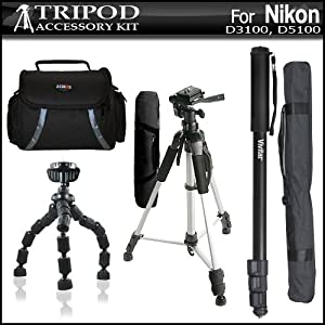 Tripod Accessory Bundle Kit For Nikon D3200 D3100 D5100 D700 D7000 D90 D800 D800E Digital SLR Camera Includes 57 Inch Pro Tripod + 67 Inch Monopod + 10 Inch Flexible Gripster + Deluxe Carrying Case