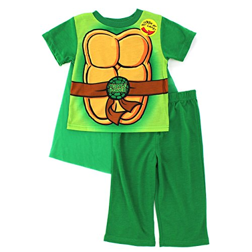 TMNT Ninja Turtles Toddler Green Poly Pajamas with Cape (2T) (Ninja Turtle Costume For Toddler)