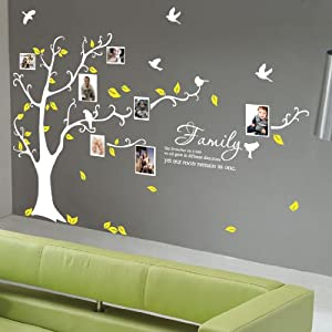 Large family tree birds quote wall art wall stickers - Arbre genealogique stickers ...