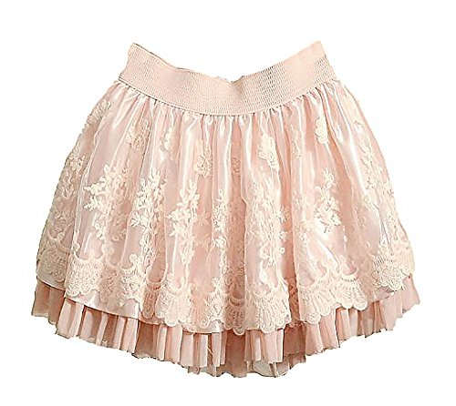 Lolita-Skirt-Pink-Black-for-Women-Sweet-Mini-Lace-Layered-Gothic