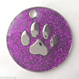 Personalised DOG CAT PAW PRINT Purple Glitter Identity ID Tag Engraved, please message Emblems Gifts Ltd direct with the details