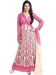 Orange Fab Women's Schiffli Work Georgette Straight Salwar Suit Dress Material