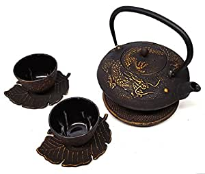 Happy sales cast iron tea set imperial dragon black gold tea sets - Imperial dragon cast iron teapot ...
