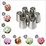 Yakamoz 7 Pieces Russian Icing Piping Nozzles Pastry Tips Cake Sugarcraft Decorating Tool Kit