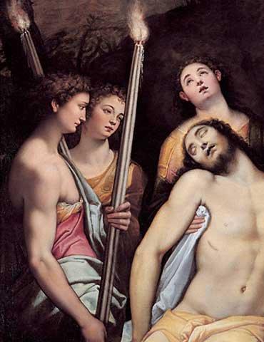 """Quadro con cornice: Federico Zuccari """"Der tote Christus, von Engeln gestützt"""" - stampa artistica decorativa, cornice di alta qualità, 45x60 cm, nero / angolo grigio"""
