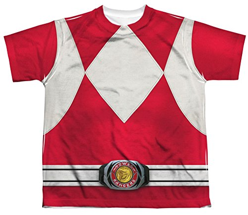 Mighty Morphin Power Rangers Red Ranger Costume - All Over Youth Front T-Shirt