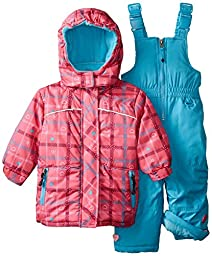 Rugged Bear Baby Girls\' Plaid Heart Snowsuit, Pink, 12 Months