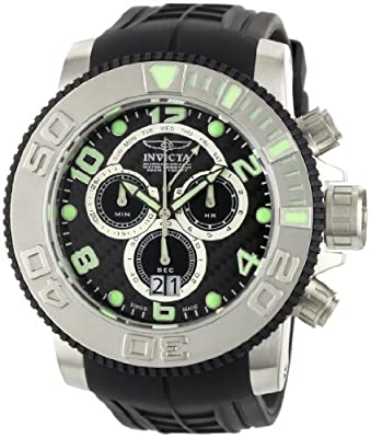 Invicta Men's 0412 Pro Diver Collection Sea Hunter Chronograph Black Polyurethane Watch by Invicta