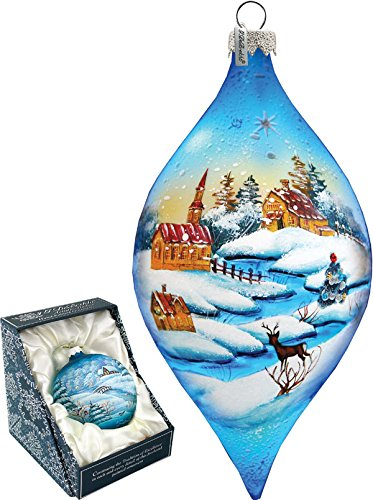 G. Debrekht WINTER VILLAGE Hand Painted Glass Ornament – hand blown glass Christmas ornament