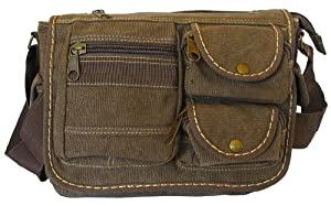 Multi-Pocket Coffee Vintage Messenger Bag