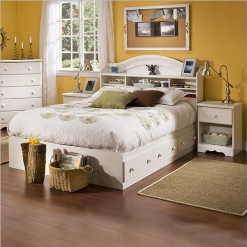 South Shore Summer Breeze Kids Full Wood Bookcase Bed 3 Piece Bedroom Set In