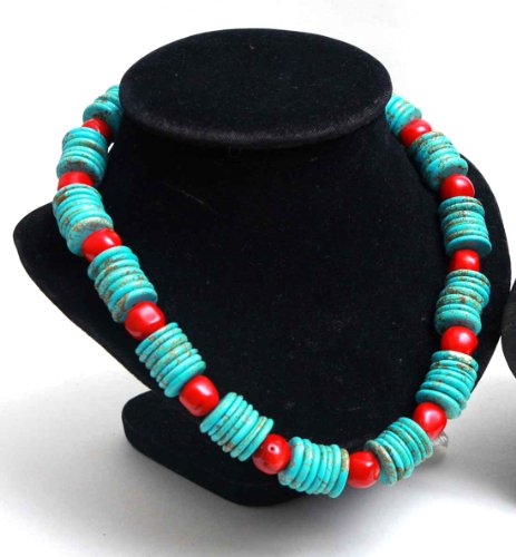 Red Coral And Turquoise Beaded Women'S Necklace