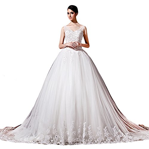 Tidetell Exquisite V Neck Cathedral Train Lace Wedding Dress White Plus Size 22W