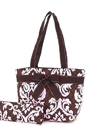 Cotton Quilted Damask Small Insulated Lunch Tote Bag (Brown & Pink)