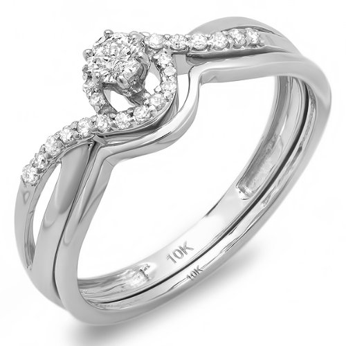 0.25 Carat (ctw) 10k White Gold Round Diamond Ladies Swirl Crossover Bridal Ring Engagement Matching Band Set 1/4 CT