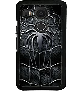 ColourCraft Black Spider Design Back Case Cover for LG GOOGLE NEXUS 5X