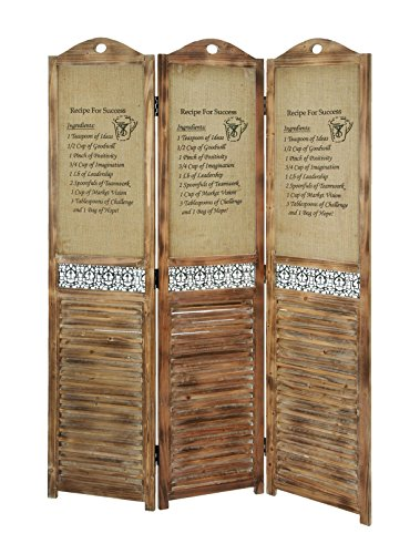 Deco 79 Wood Burlap Screen, 69 by 48-Inch (Louvered Folding Screen compare prices)