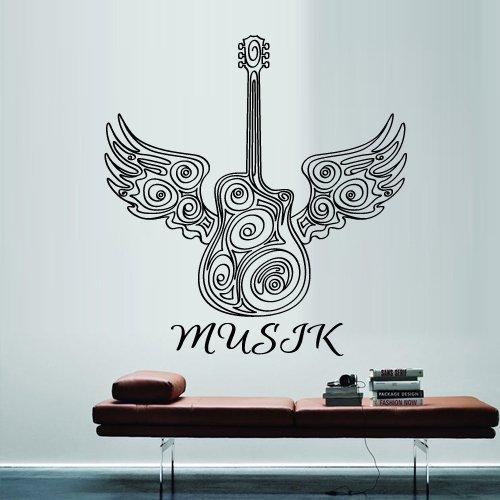 Wall Decal Vinyl Sticker Decals Art Decor Design Guitar Notes Melody Electro Music Musicant Band Rock Star Wings Bedroom Dorm Gift (M1331) front-675650