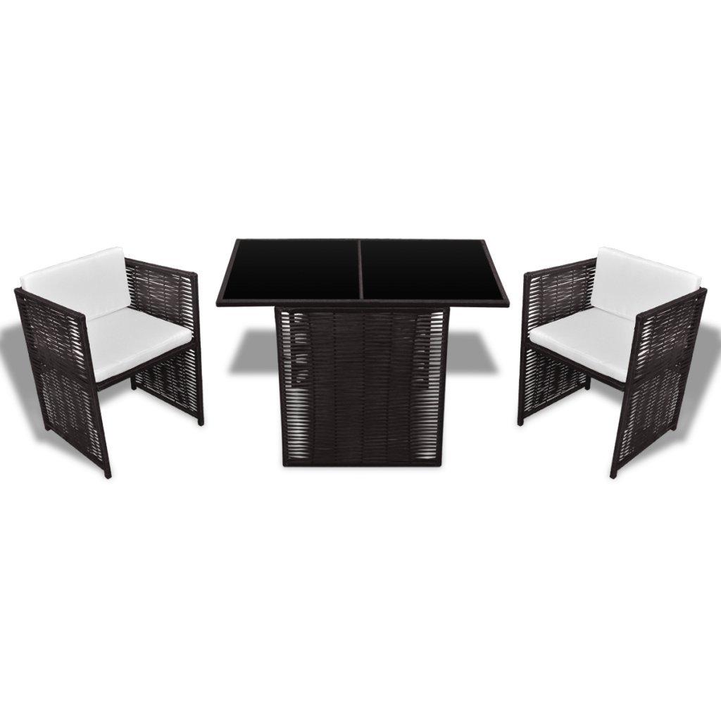 vidaXL Poly Rattan Gartenset Garnitur Essgruppe 1 Tisch 2 Stühle Braun online kaufen