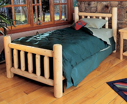 Rustic Natural Cedar Furniture Log Wood Bed