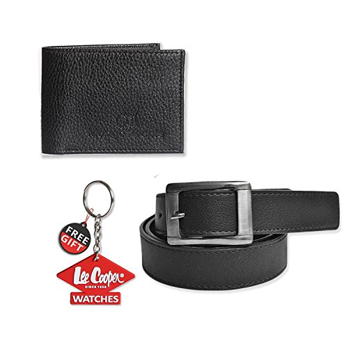Mango People Black combo set of Belt and Wallet For with FREE GIFT LEECOOPER KEY CHAIN For Men