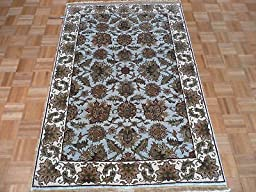 4 x 6 HAND KNOTTED LIGHT BLUE AGRA ORIENTAL RUG VEGETABLE DYES G514