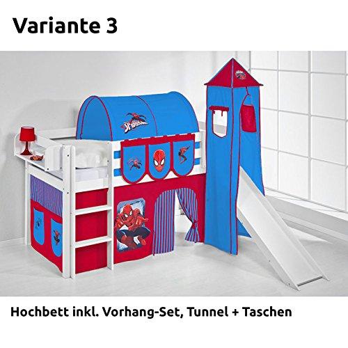 Hochbett Spielbett JELLE Spiderman mit Turm, Rutsche und Vorhang, weiß, Variante 3 kaufen