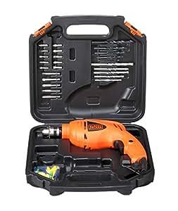 BLACK+DECKER HD400KA50 10mm 550 Watt Impact Drill Kit (Orange, 50 Accessories)