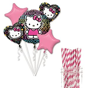 Dress My Cupcake Party Decoration Kit with Straws and Balloons, Hello Kitty Tween Birthday Party