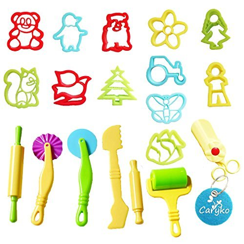 Caryko Smart Dough Tools Kit with Models and Molds, animals with scissors, Set of 19 (Alex Dough Tools compare prices)