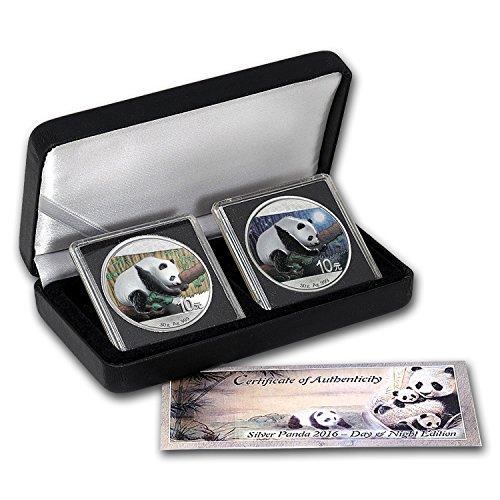 2016 China 2-Coin 30 gram Silver Panda Set Day/Night (Colored)