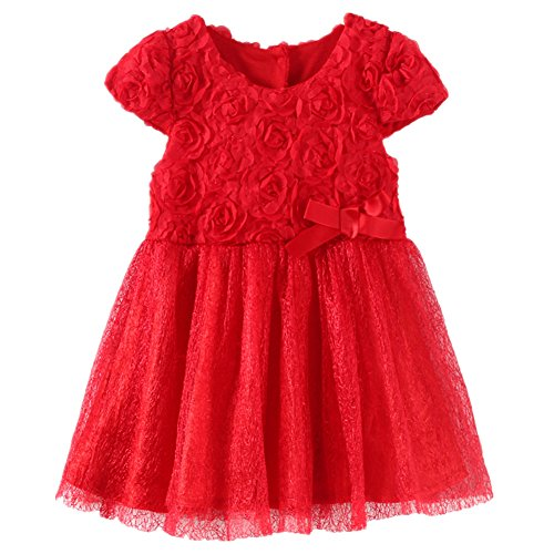 LittleSpring Baby Girls' Party Dresses Flowers Size 12M Red